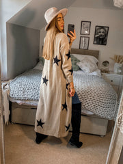 Kaia Beige & Black Star Print Long Cardigan