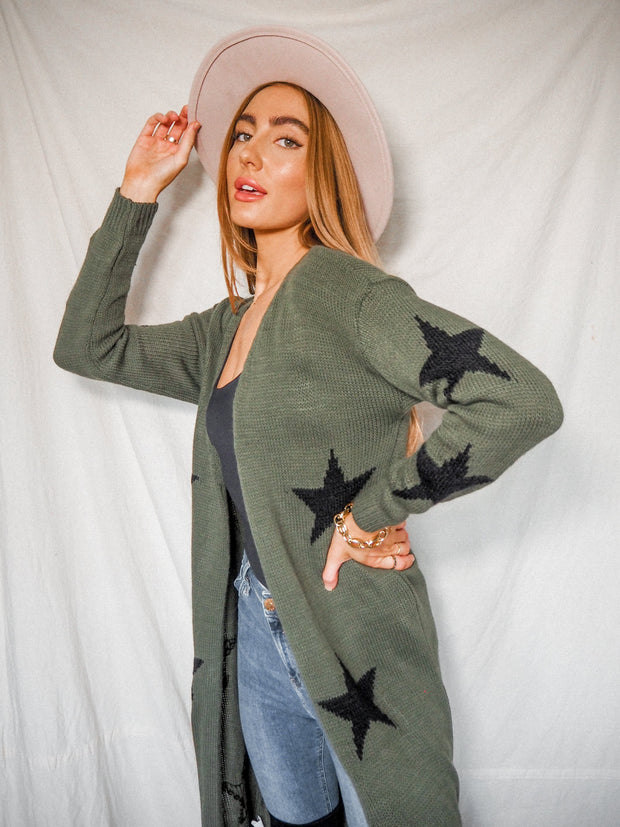 Kaia Khaki & Black Star Print Long Cardigan