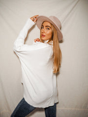 Hope Ivory Knitted Oversized High Neck Jumper