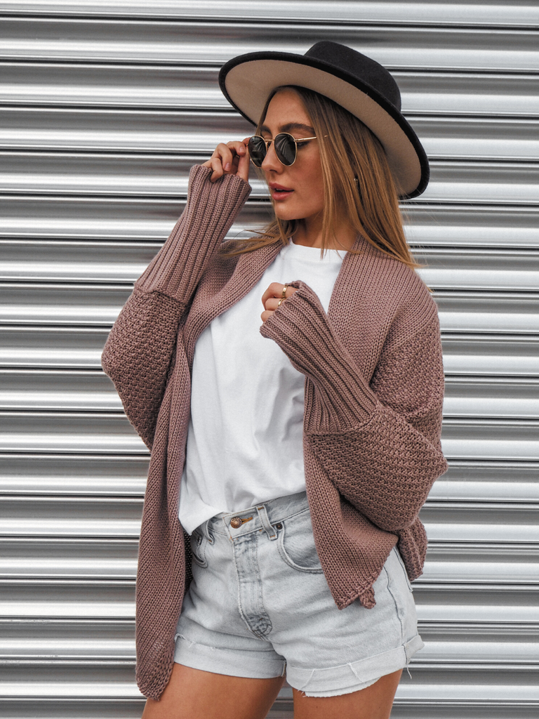 Keira Mocha Waffle Knitted Slouch Cardigan