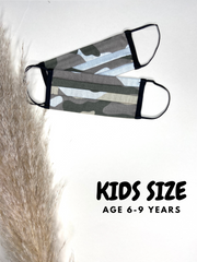 Kids Camouflage Print Face Covering Age 6 - 9 - 2 Pack