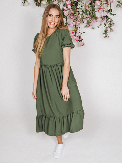 Kaylee Khaki Smock Tiered Midi Dress