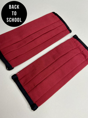 Secondary School 2 Pack Red Washable Face Covering - Ages 10 - Adult