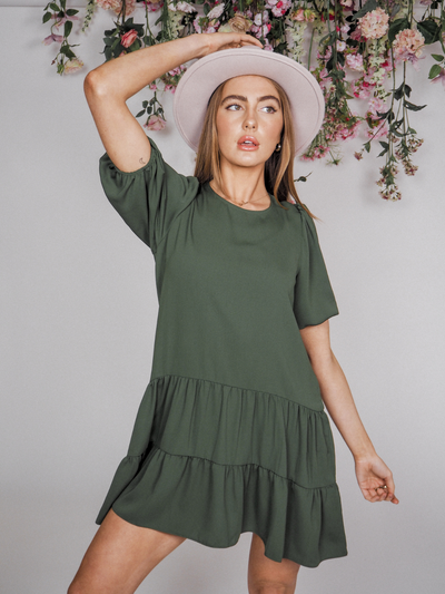 Kara Khaki Smock Tiered Mini Dress
