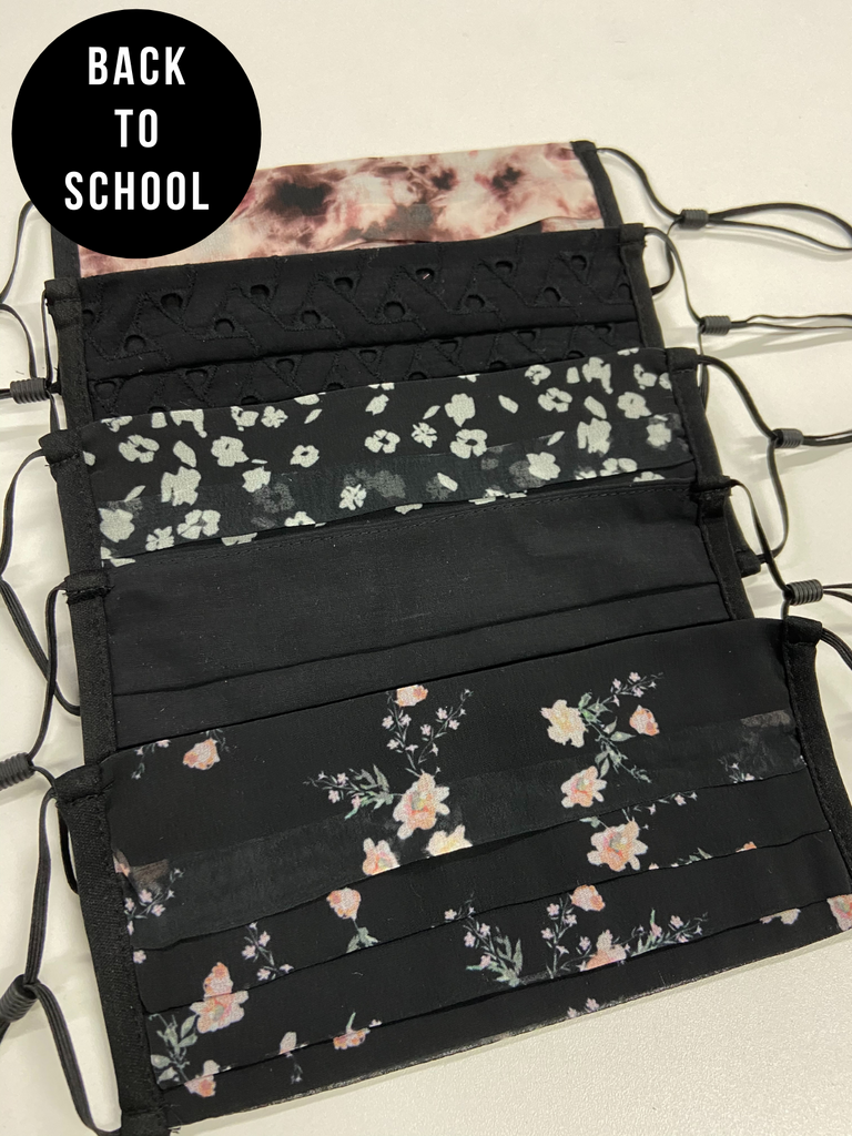 Secondary School 5 Pack For The Week Floral / Black Face Coverings - Ages 10 - Adult