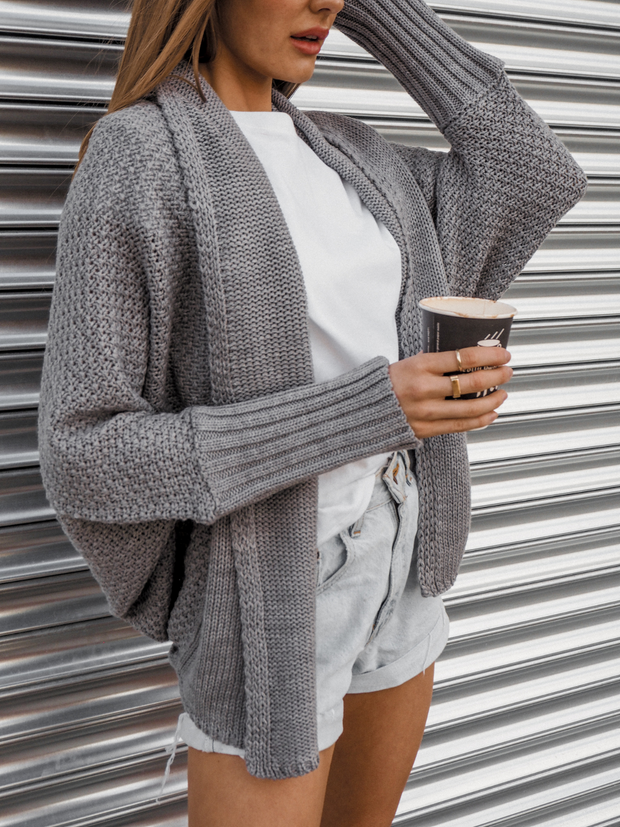 Keira Grey Waffle Knitted Slouch Cardigan