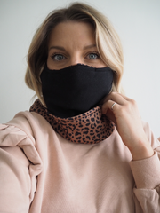 The Ultimate Animal Print & Black Snood - Adjustable Double Layer Reversible Filter Pocket
