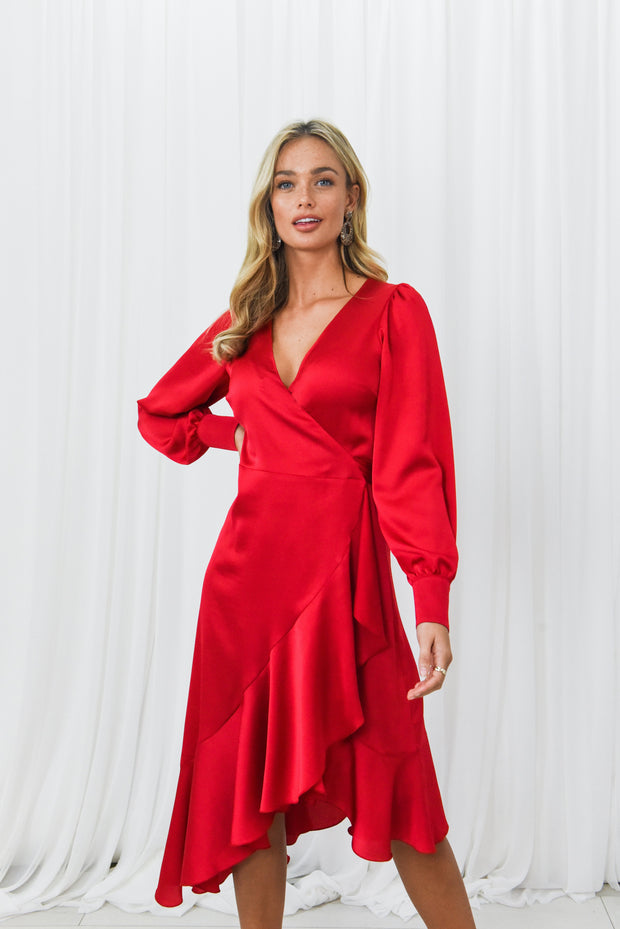Charlotte Red Frill Wrap Midi Dress