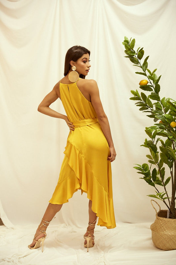 Ariana Golden Yellow Satin Halter Frill Dress