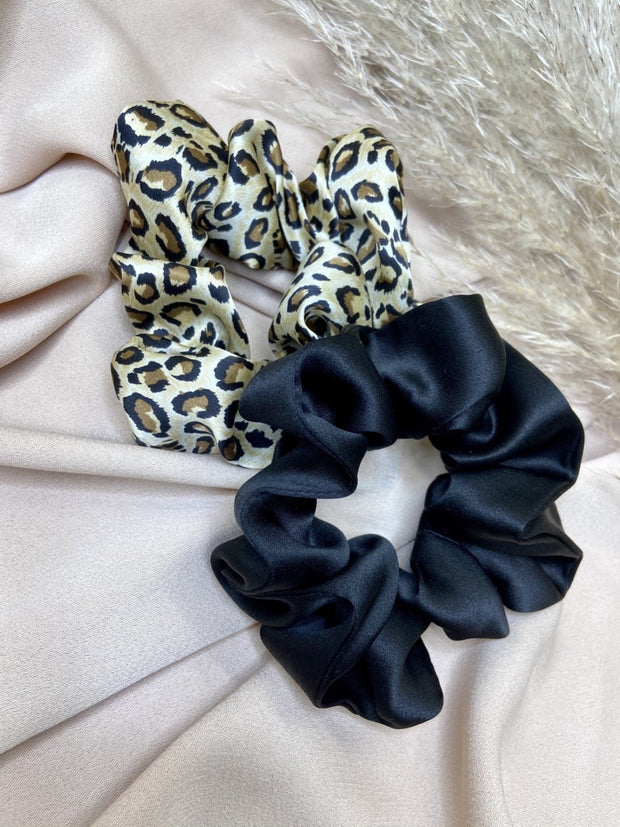 Pack Of 2 100% Mulberry Silk Scrunchies - Black & Animal Print