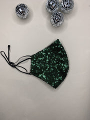 Limited Edition Green Sequin Washable Face Covering - ADJUSTABLE