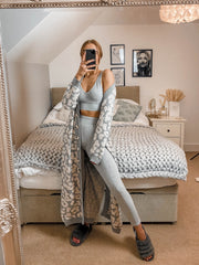 Jade Animal Print Midi Knitted Loungewear Cardigan