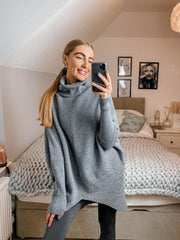 Longer Length Hope Grey Knitted Oversized Roll Neck Jumper