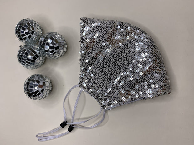 Limited Edition Silver Sequin Washable Face Covering - ADJUSTABLE