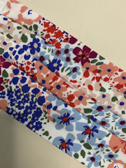 Floral Washable Face Covering In White, Red & Blue