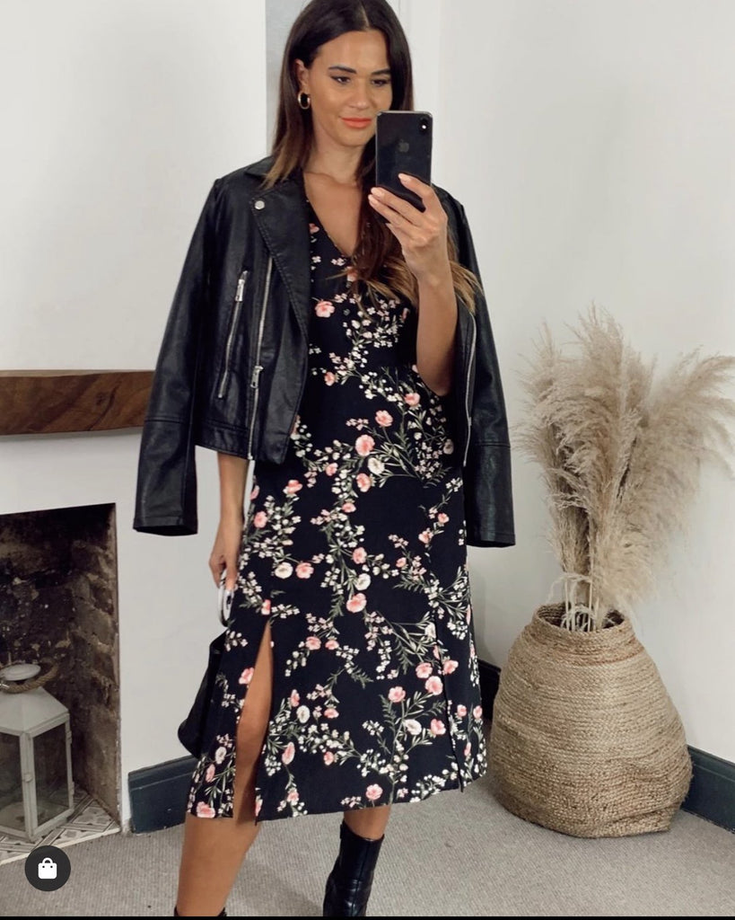 Wendy Black and Blush Floral Midi Dress