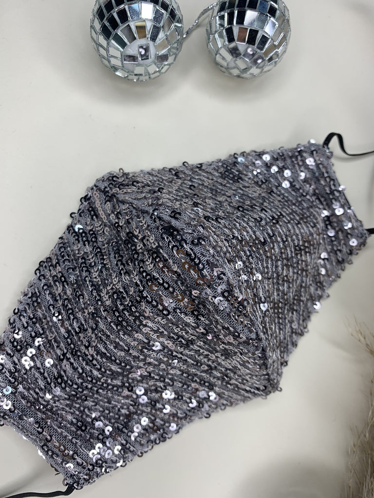 Limited Edition Grey Sequin Washable Face Covering - ADJUSTABLE