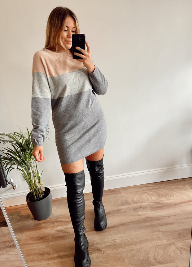 Pink Knitted Jumper Dress | Jolie Pink Colour Block Dress