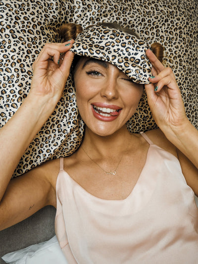 Animal Print Sleep Mask 100% Mulberry Silk
