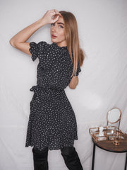 Josie Puff Sleeve Black & White Spot Wrap Dress