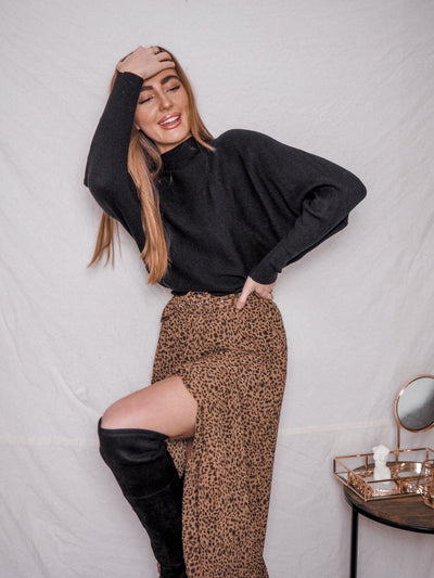 Animal Print Midi Skirt | Jac Animal Pleated Belted Midi Skirt