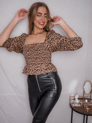 Jordan Animal Print Long Sleeve Shirred Top