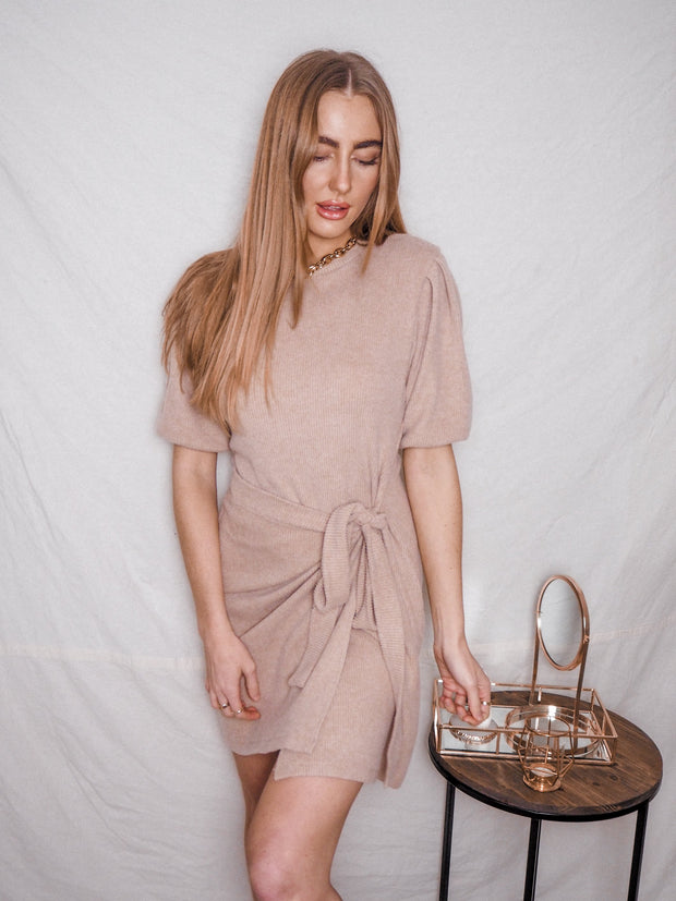 Camel Knitted Dress | Jodie Camel Knitted Puff Sleeve Dress