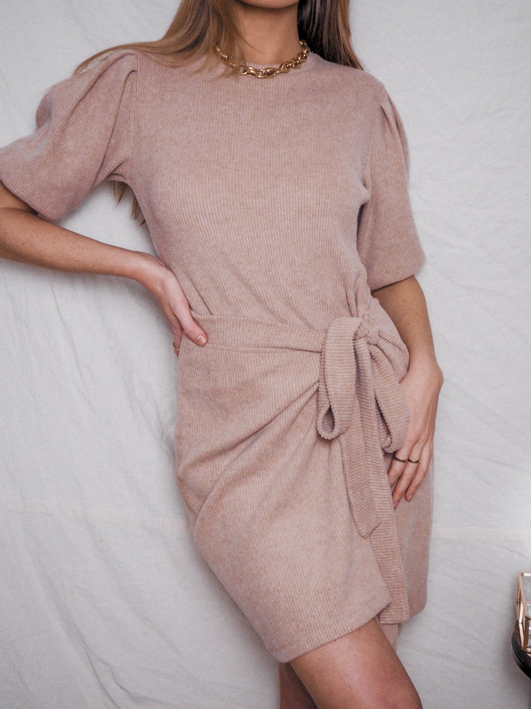 Jodie Camel Knitted Puff Sleeve Dress