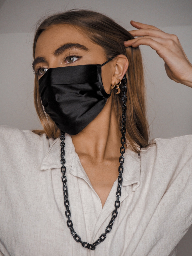 Mask Chains in Tortoise Black and Silver (2 Pack)
