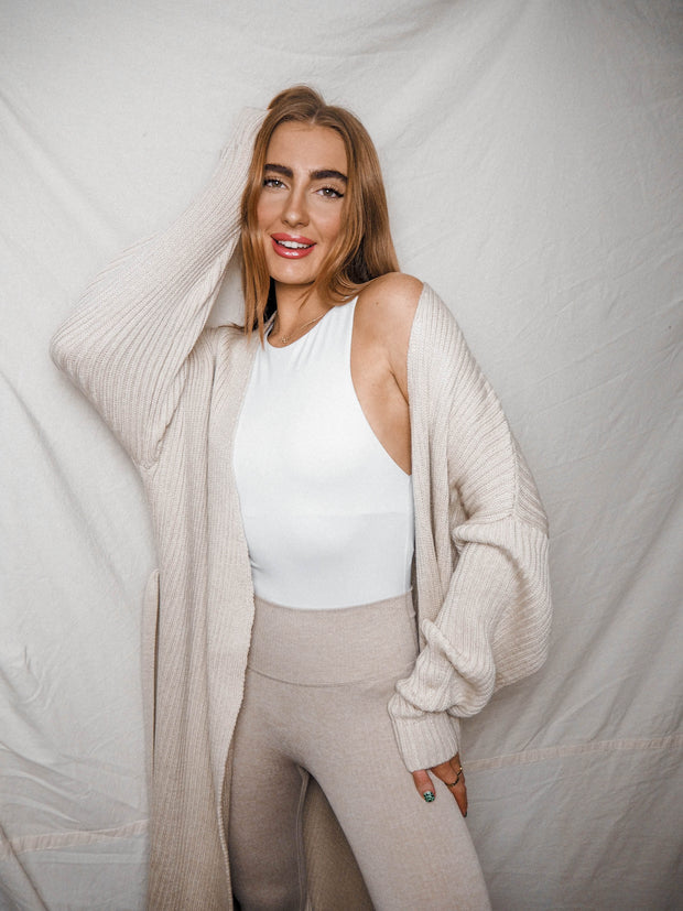 Harlee Cream Chunky Cardigan With Tie Belt