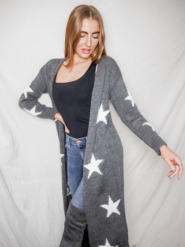Kaia Grey & White Star Print Long Cardigan