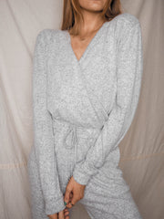 Honor Grey Knitted Wrap Jumpsuit