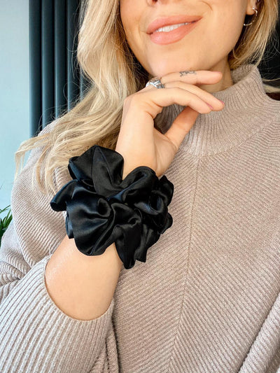 Black Silk Scrunchie | 2 Black 100% Mulberry Silk Scrunchies
