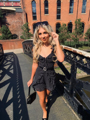 Billie Cold Shoulder Frill Playsuit In Spot