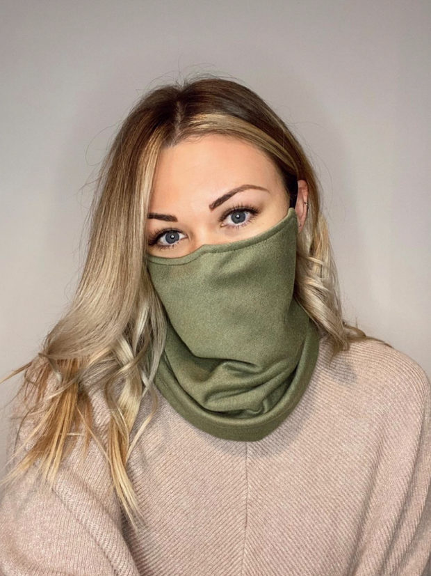 The Ultimate Khaki & Black Snood - Adjustable Double Layer Reversible Filter Pocket
