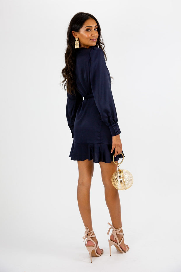 Bobbi Wrap Satin Navy Dress