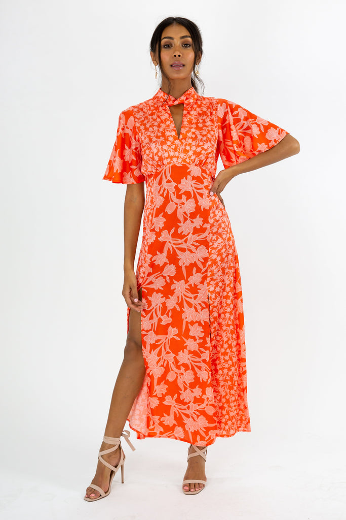 Bonnie Orange Floral Twist Neck Midi Dress – Style Cheat