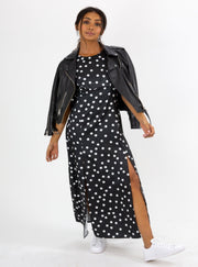 Bailey Mono Spot Angel Sleeve Midi Dress
