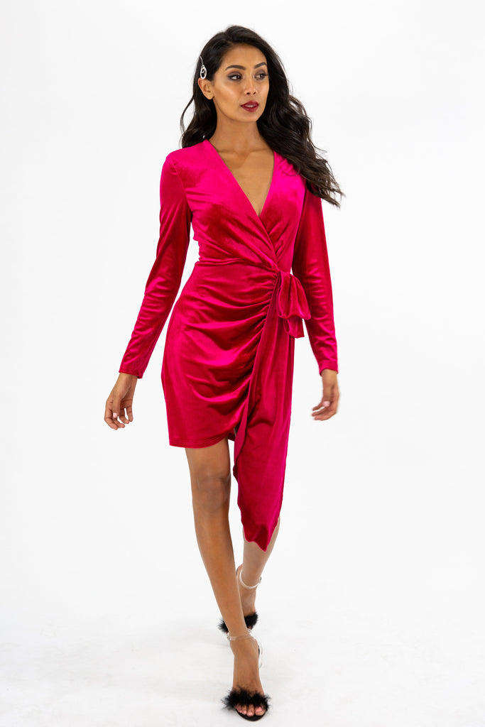 Darcy Pink Velvet Mini Dress