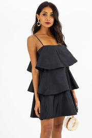 Dixie Tiered Black Mini Dress