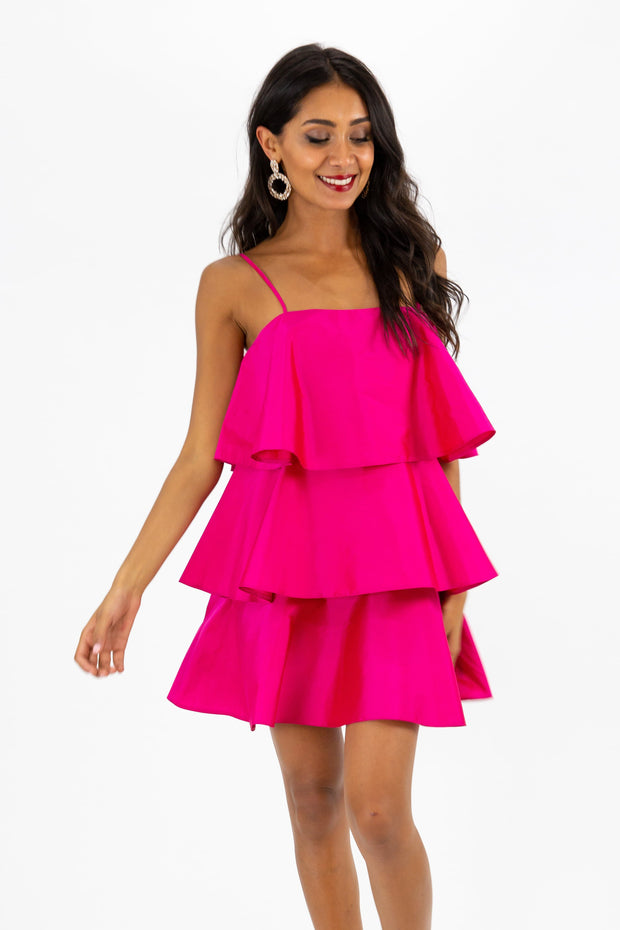 Dixie Tiered Pink Mini Dress