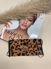 Brown Leopard Print Washable Face Covering
