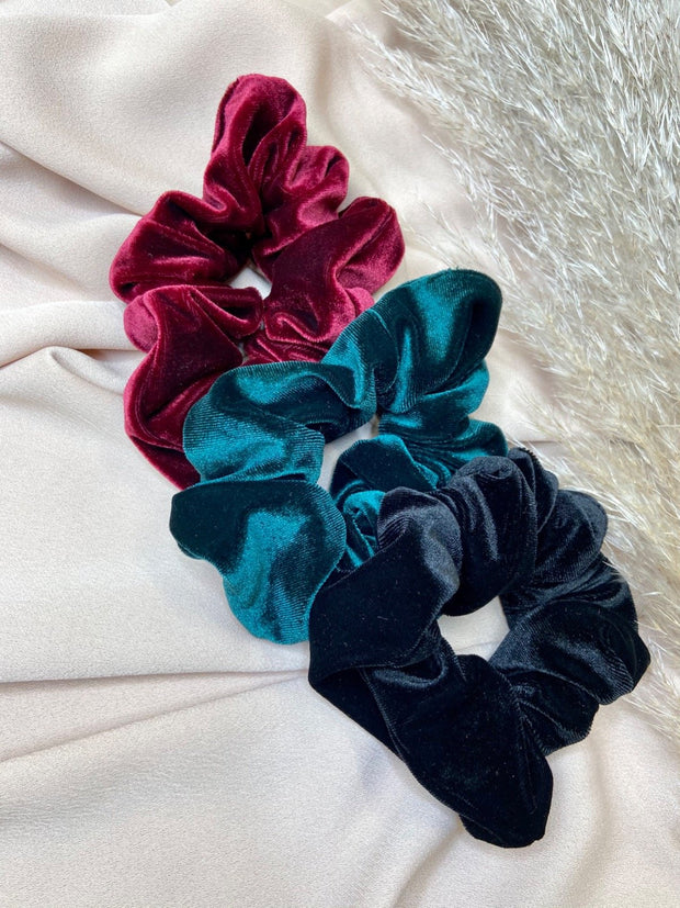 Pack Of 3 Velvet Scrunchies - Ruby, Emerald & Black