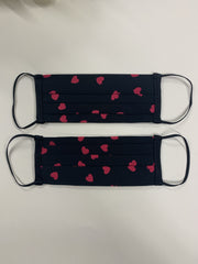 Mini Raspberry & Black Heart Washable Face Covering 2-5 years