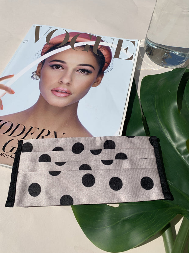 Blush & Black Spot Print Washable Face Covering - ADJUSTABLE