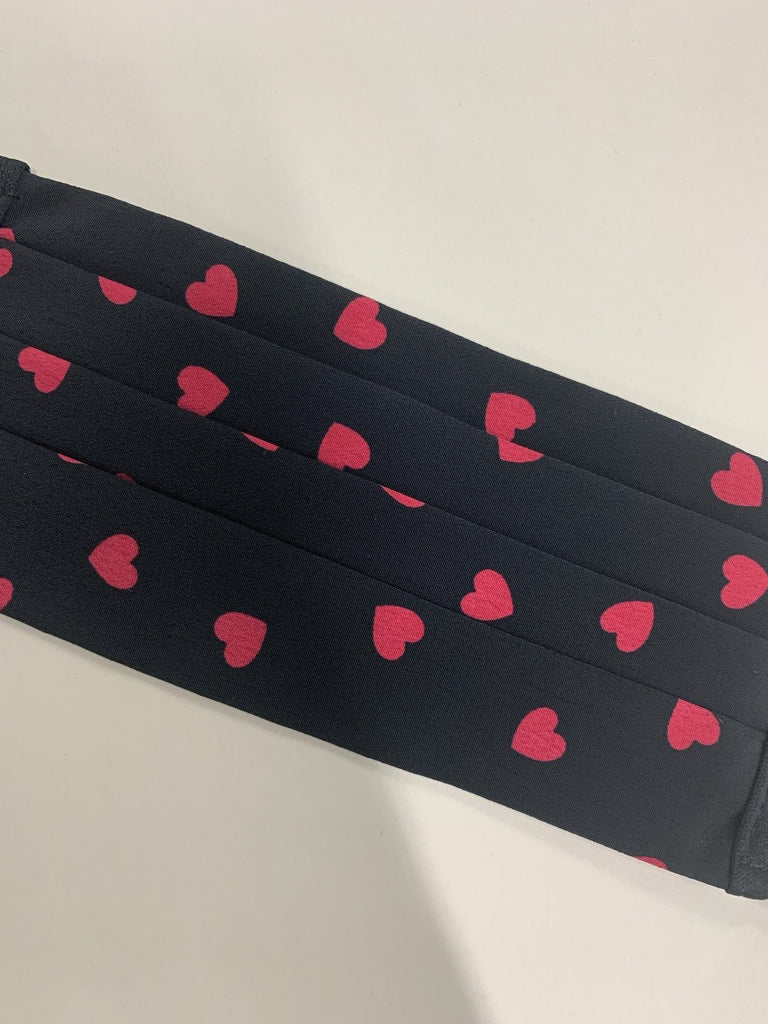 Raspberry and Black Heart Washable Face Covering - Adjustable