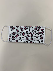 Black & Pink Animal Print Washable Face Covering In Black and White