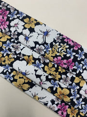 Dark Floral Print Washable Face Covering In Black, Yellow and Pink - Adjustable