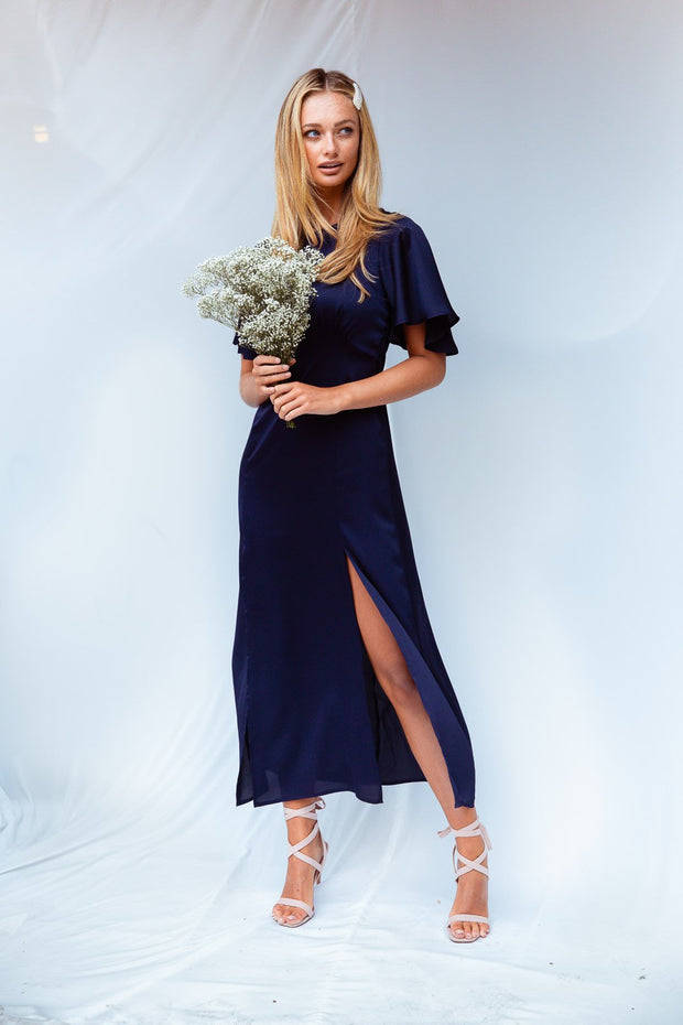 Bailey Navy Satin Angel Sleeve Midi Dress