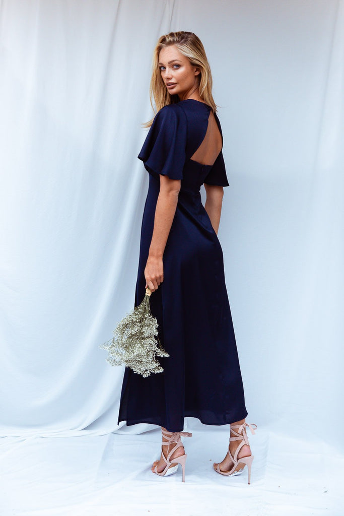 Navy Satin Midi Dress | Bailey Navy Satin Angel Sleeve Dress